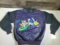 VTG RARE Saxony THE JETSONS Sweater Coogi, Cosby, Biggie Hip Hop RAP LEATHER 🔥