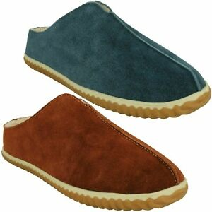 HOME STYLE MENS CLARKS SUEDE SLIP ON WARM FUR LINED INDOOR MULE BACKLESS SLIPPER