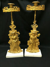 Antique Pair of Cornelius & Co. Gilt Brass Figural Candle Holders