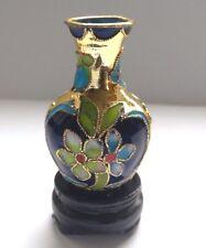 VINTAGE dell'era Maji VASO Ornamento Con Supporto. Blu/Multicolore a fiori. Home Decor