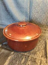 Vintage BrownWare Pottery Covered Crock, USA,