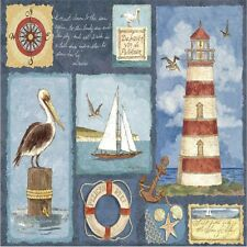 LIGHTHOUSE SAIL BOAT SEAGULL   SET OF 4 COASTERS RUBBER WITH FABRIC TOP