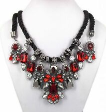 COLLIER PLASTRON CORDON CRISTAL ROUGE NECKLACE J PEARL CRYSTAL RED TOPSHOP