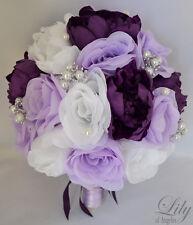 17pcs Wedding Bridal Bouquet Set Silk Flower Decoration Package PURPLE LAVENDER