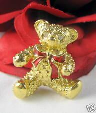 Bear Pin Cat Rescue Gold tone Rhinestone Teddy