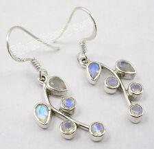 "925 STERLING Silver RAINBOW MOONSTONE PLANT LEAF New Earrings 1.5"", 3.5 Grams"