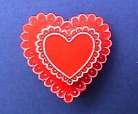 Hallmark PIN Valentines Vintage HEART CANDY BOX LACE 1970s Holiday Brooch RARE