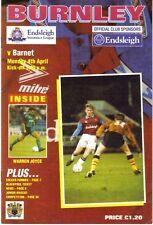 Football Programme>BURNLEY v BARNET Apr 1994