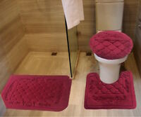 Three Piece Embossed Flannel Foam Bath Mat Set-Burgundy