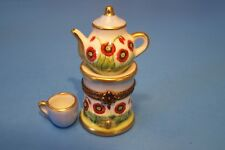 Teapot Light Blue, Red Flowers ,Cup, authentic French Limoges Box ( New )