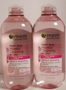 (2-PK) Garnier SkinActive Micellar Cleansing Water Rose Water 13.5 oz Hydrating