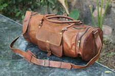 Real Pure Leather Handmade Luggage Gym Bag Overnight Travelling Duffle Bag