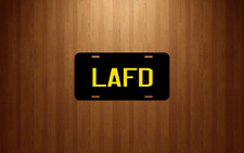 LAFD Black License Plate logo Yellow lettering Firefighter Los Angeles Fire Dept