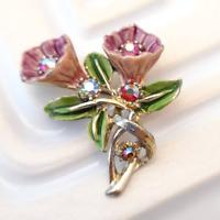 Pink Flower Brooch by Hollywood Vintage 1950s Aurora Borealis Rhinestone Pin