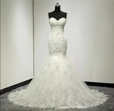 Charming Mermaid Wedding Dresses Sleeveless Lace Appliques Bridal Gowns Custom