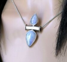 Lovely Double Rainbow Moonstone 925 Sterling Silver Necklace Pendant+ Free Chain