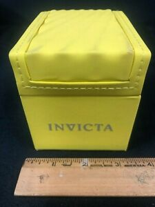 AUTHENTIC YELLOW SMALL INVICTA DESIGNER RETAIL WATCH BOX & CASE WITH PILLOW   K