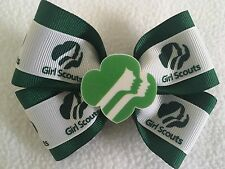"Girls Hair Bow 4"" Wide Girl Scouts Ribbon Green Grosgrain Alligator Clip"