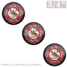 "3 Pack Gel Top Domed Glossy 3/4"" 3M Premium Decal Stickers FIRE DEPT FIREFIGHTER"