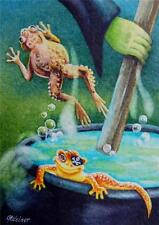 50% OFF SALE! ACEO Limited Edition Print Halloween Witch Toad Newt Cauldron