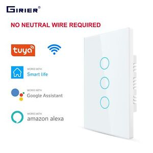 Smart Wifi Touch Switch No Neutral Wire Required Smart Home 1/2/3 Gang Light