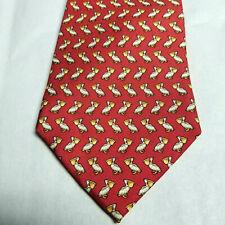 Pellicano Cravatta Rosso Joseph & Lyman Costiera Spiaggia Uccello 100% Seta