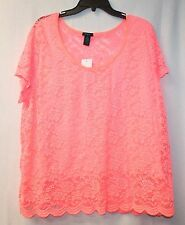 BEAUTIFUL NEW WOMENS PLUS SIZE 3X NEON CORAL ORANGEPINK SCALLOPED LACE SHIRT TOP