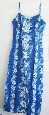 KY's Womens Hawaiian Blue Floral Long Spaghetti Strap Dress Sz L - NWOT