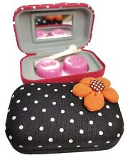 Fabric Flower Coloured Contact Lens Lenses Travel Kit Mirror Case Tweezers Black