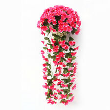 Hanging Wall Artificial Fake Silk Violet orchid Flower Rattan Plant Basket Decor