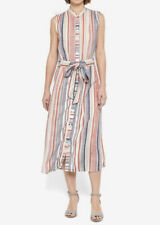Warehouse Striped Sleeveless Summer Midi Shirt Dress Size 12