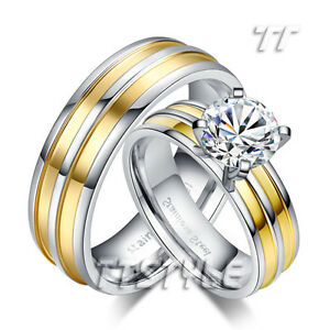 TTstyle Two-Tone Stainless Steel Engagement Wedding Band Ring Set For Couple