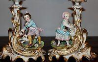 """French Old Paris Porcelain Figural Candlesticks c1840s Jacob Petit Original 13"""""""