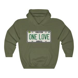 Bob Marley Inspired One Love License Plate Hoodie Kingston Jamaica Reggae