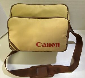 Vintage Canon Camera Bag With Strap Tan Nylon Brown Leather Trim S-1 TN Small
