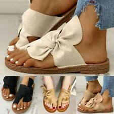 Women Slip On Sliders Bow Knot Slippers Flat Sandals Footbed Mules Beach Shoes