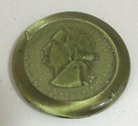 Green George Washington Pressed Glass Paperweight Coaster Sun Catcher