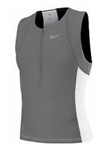 Nike 712743 Mens Triathlon Swim Top Tri Aero Tank Shirt Grey White S M or L  $76