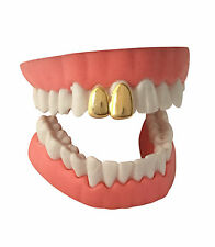 Hip Hop 14K Gold Plated Double Two Tooth Teeth Grillz Grill Canine Cap