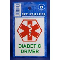 Diabetic Driver Warning Sticker - Castle Promotions Indoor Vinyl White V496