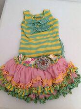 Mustard Pie Boutique Ruffle Tutu Kenzington Skirt Shirt Pink Green Size 4 EUC!