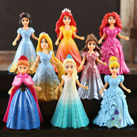 8pcs Movie Disney Princess Action Figures Changed Dress Doll Kids Girl Toy Gift