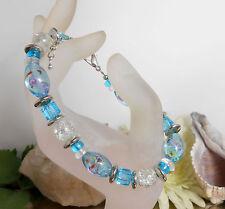 Bildschönes Armband aus GLAS Perlen Millefiori + Crackle Glas in türkis