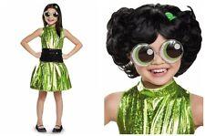 PowerPuff Girls Buttercup Deluxe Shimmer Dress Kids Costume Plus Wig 7-8