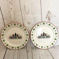 "Set of Two Farm Fresh Christmas Tree 8"" Plates World Market White with Red Rim"