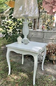 White Wood End/Side Table Painted Large Cottage Country French Shabby Farmhouse