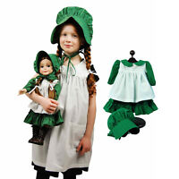 """Little House Child Size Apron & Bonnet with 3pc 18"""" Doll Prairie Outfit Play Set"""