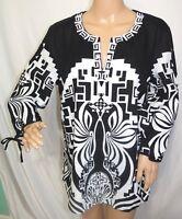 JM Collection Women Plus Size 12 14 Black White Aztec  Linen Tunic Top Blouse