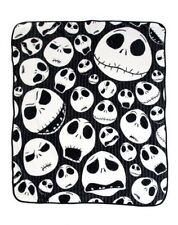 "Nightmare Before Christmas Jack Skulls Skellington Pin Stripes Throw 46""x60"" NEW"