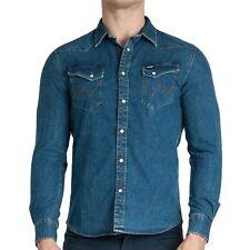 Wrangler Uomo Ls Western Slim Fit con Bottoni Jeans Camicia Top - Blu Indaco